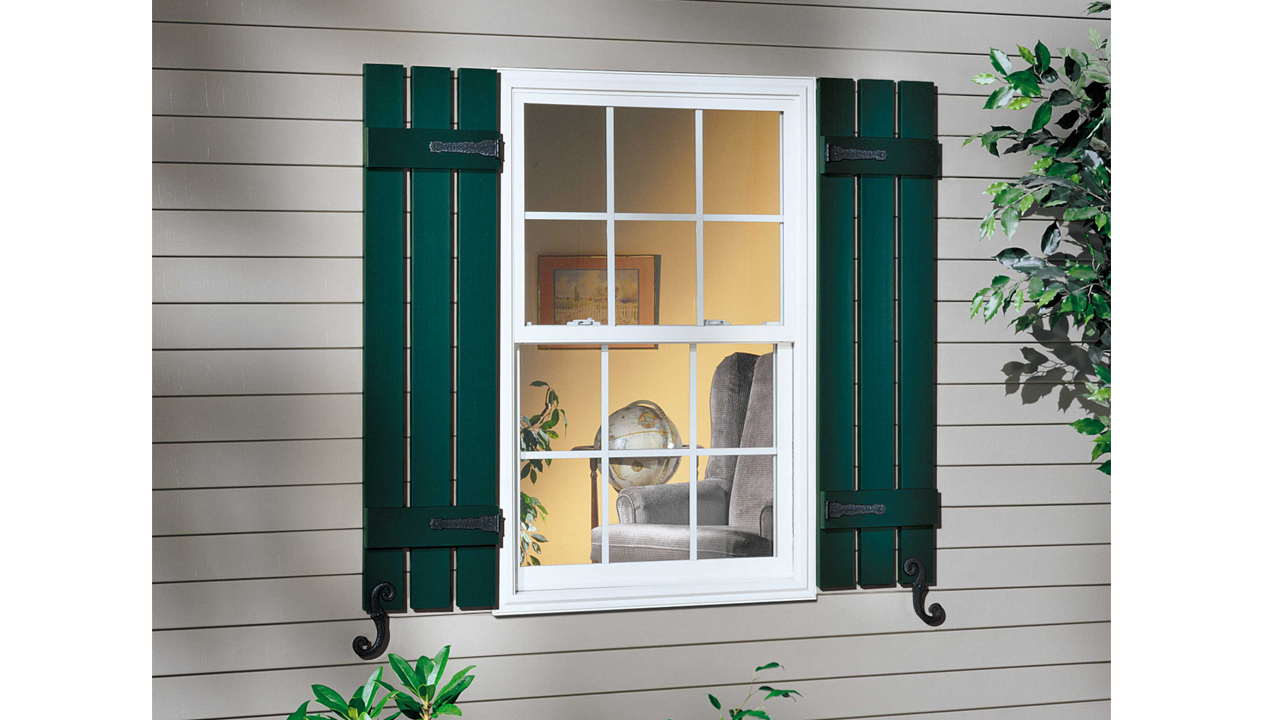 Board-N-Batten Shutters with Decorative Hardware | Midnight Green 122